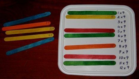 icecream lid popstick 9 times table