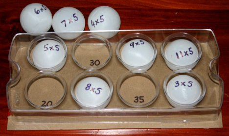 ping pong ball egg tray 5 times table