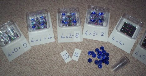 4 times table multipication jewel cont