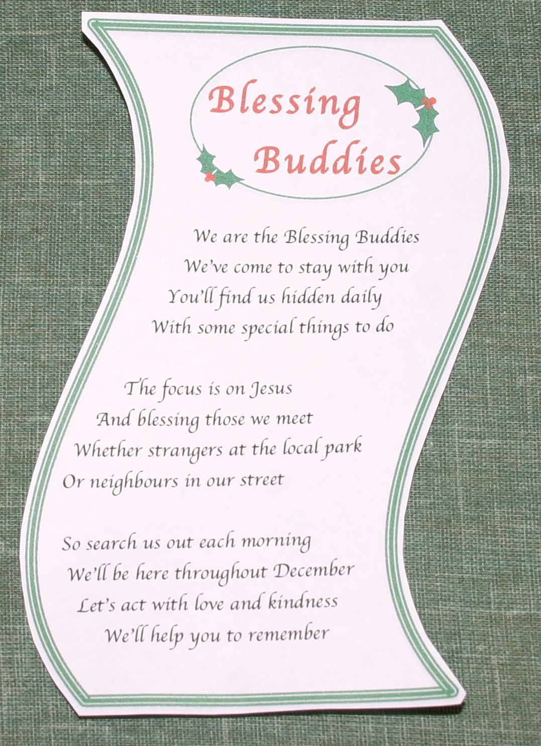 Free printable Blessing Buddies introduction poem here.)